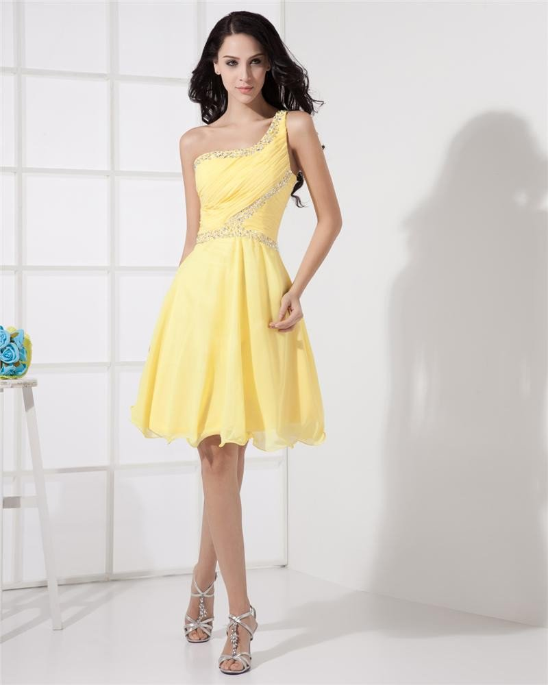 One Shoulder Sleeveless Backless Ruffle Beading Mini Length Chiffon Woman Cocktail Dress