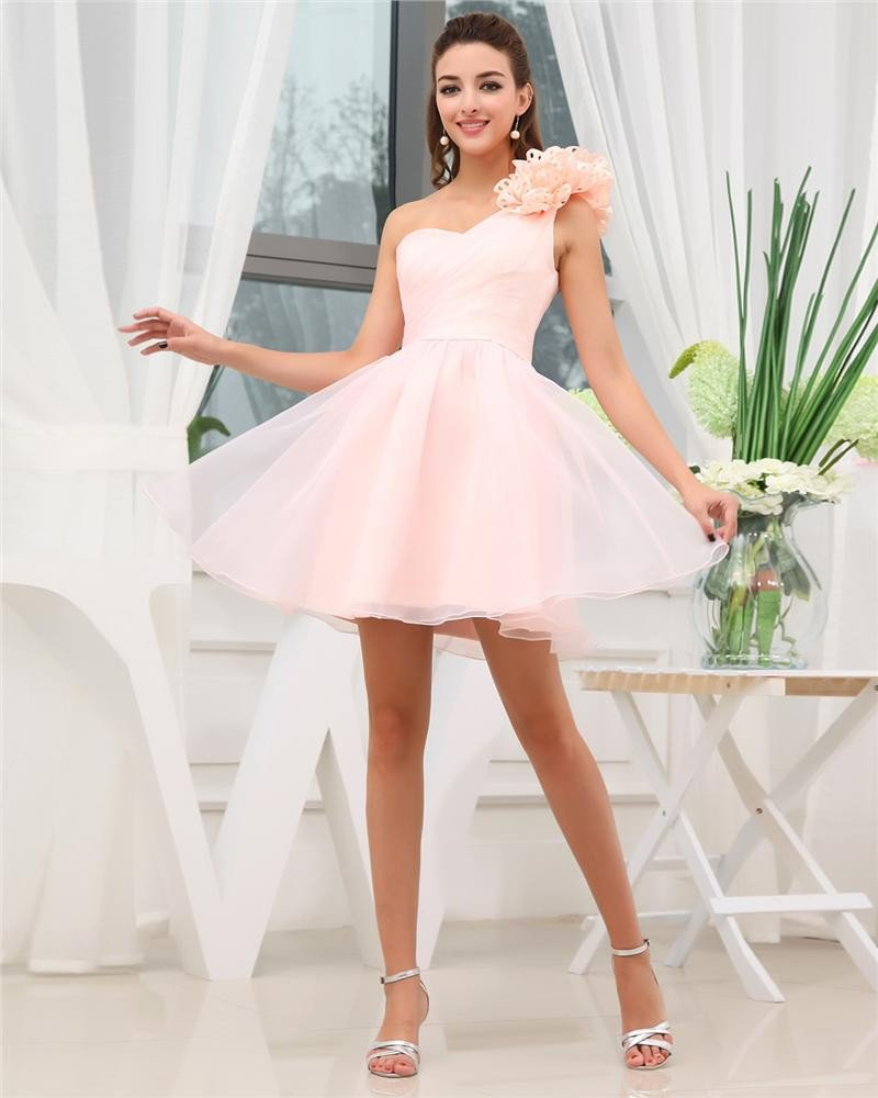 Sweetheart Flower Ruffle Sleeveless Zipper Mini Length Chiffon Woman Cocktail Dresses