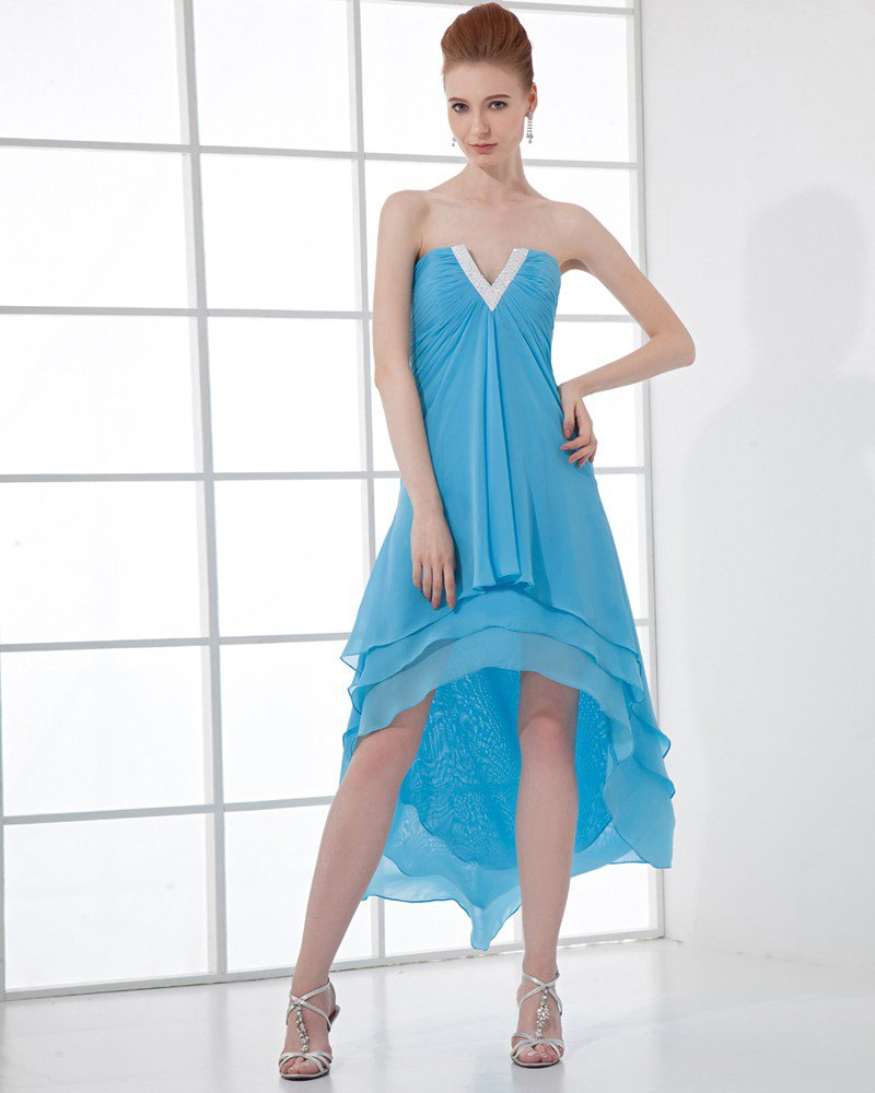 Empire Strapless Asymmetric Chiffon Tulle Prom Cocktail Dresses