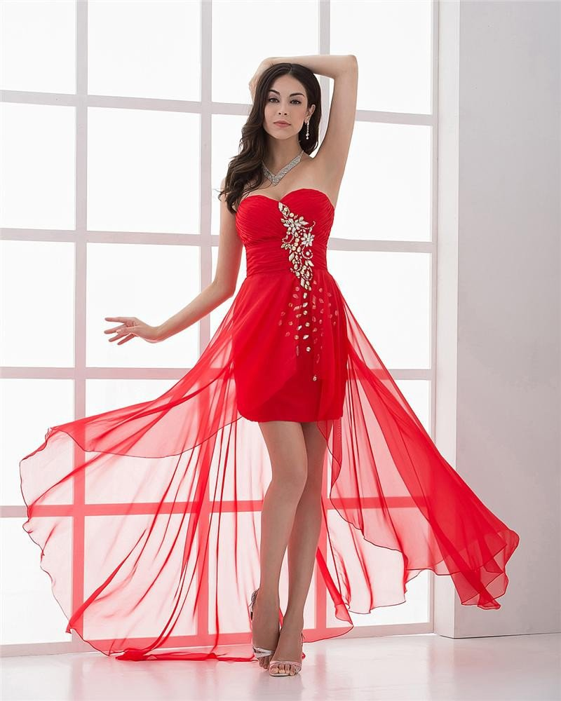 Chiffon Beading Pleated Sweetheart Asymetrical Women High Low Prom Cocktail Dresses