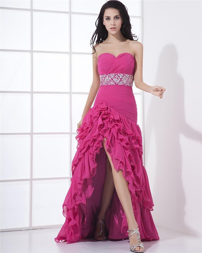 Charmeuse Chiffon Bead Drape Sweetheart Floor Length Cocktail Dresses