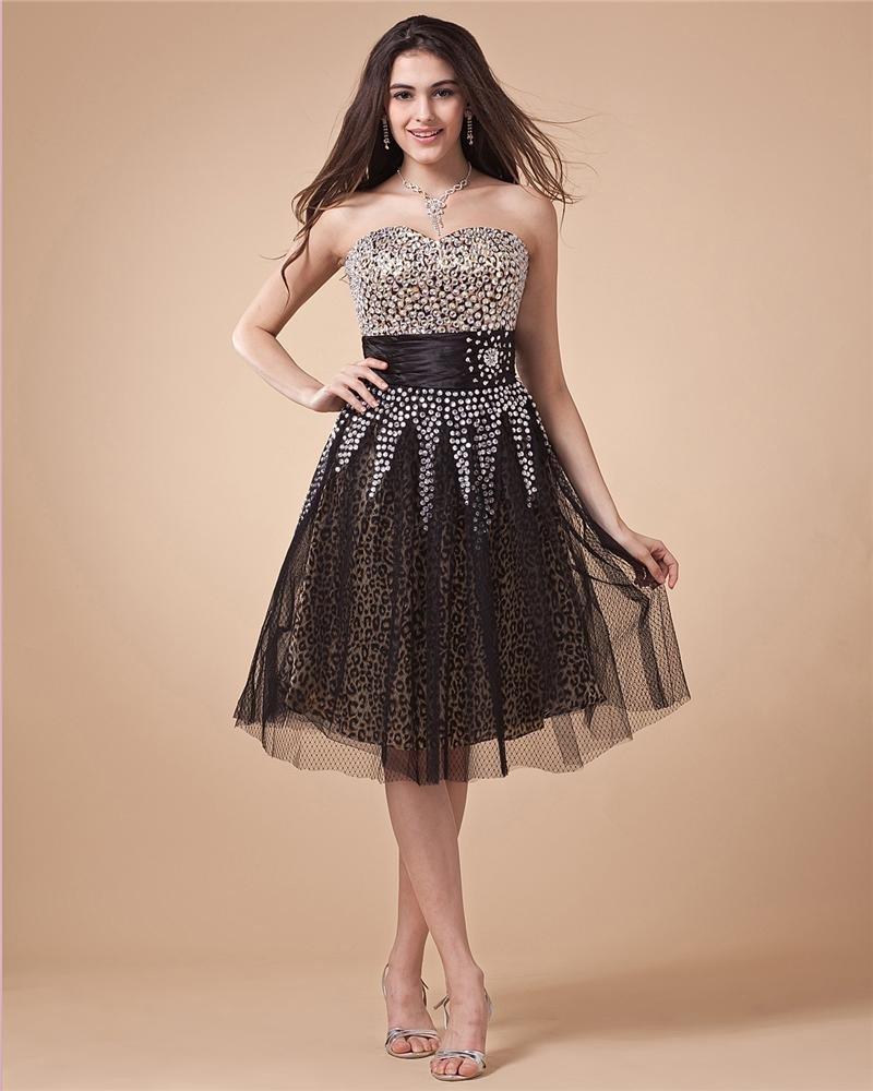 Sweetheart Beading Sleeveless Zipper Knee Length Charmeuse Woman Little Black Cocktail Dress