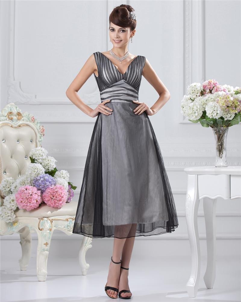 V-Neck Ankle-Length Satin Organza Party Cocktail Dress