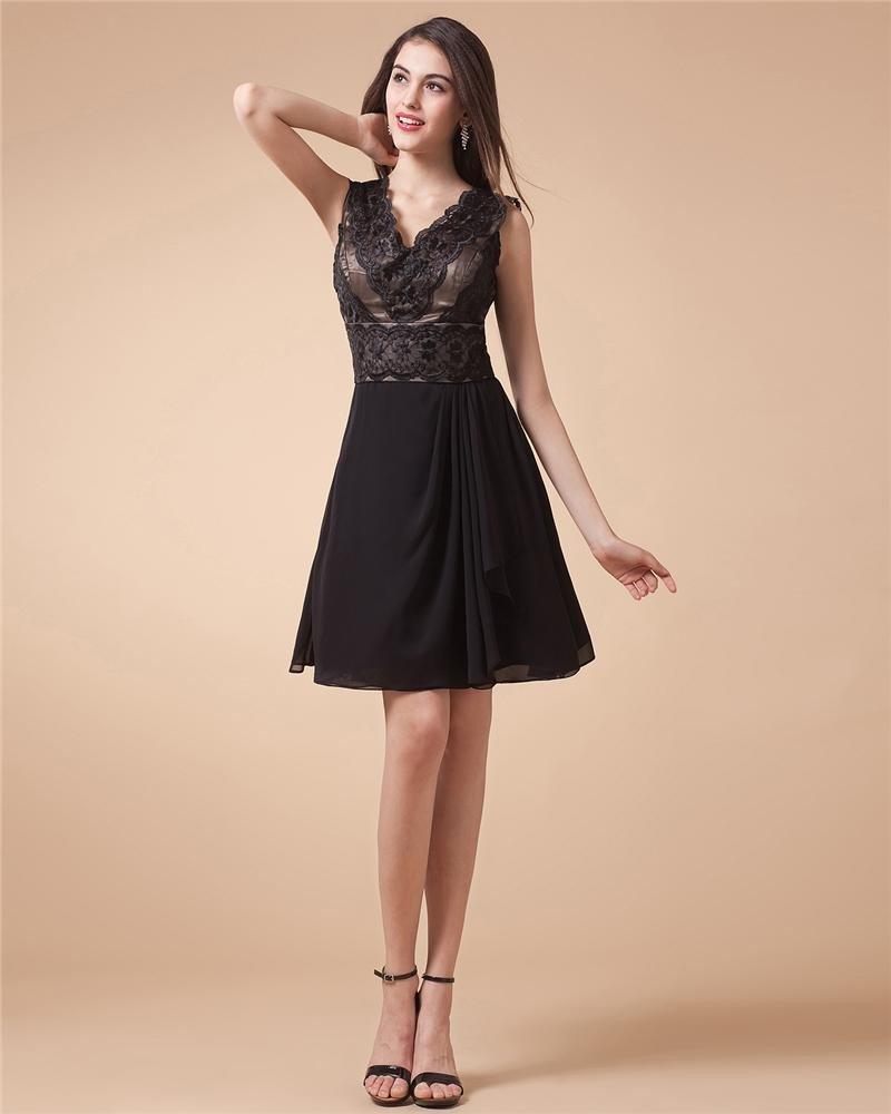 Junoesque Charmeuse Lace Ruffles Jewel Knee Length Women's Cocktail Dress