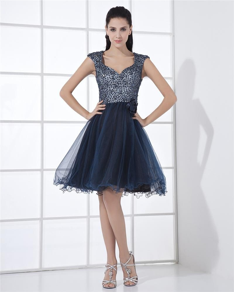 Sweetheart Tulle Ruffle Handmade Flower Knee Length Celebrity Cocktail Dresses