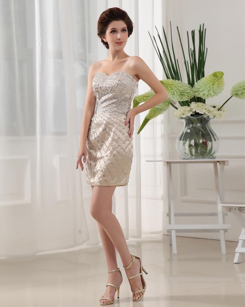 Sweetheart Sleeveless Zipper Beading Mini Length Elastic Silk Like Satin Silk Woman A Little Black D