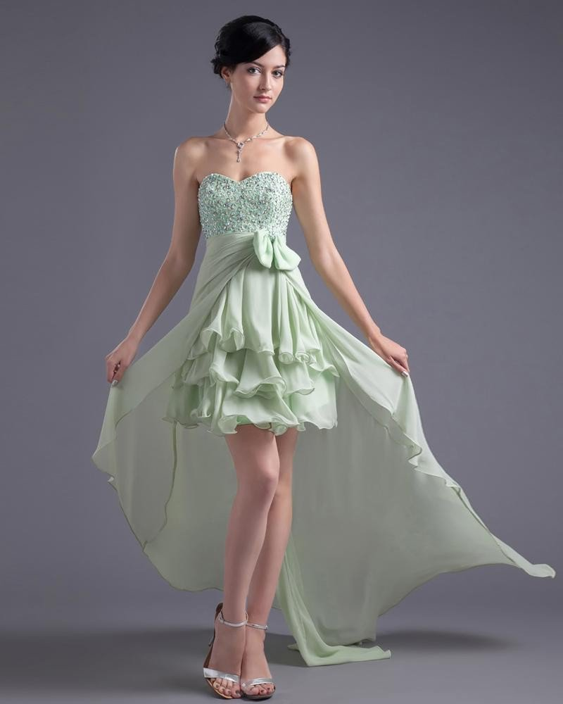 Asymetrical Length Sweetheart Ruffles Beading Bowknot Chiffon High Low Prom Cocktail Dress