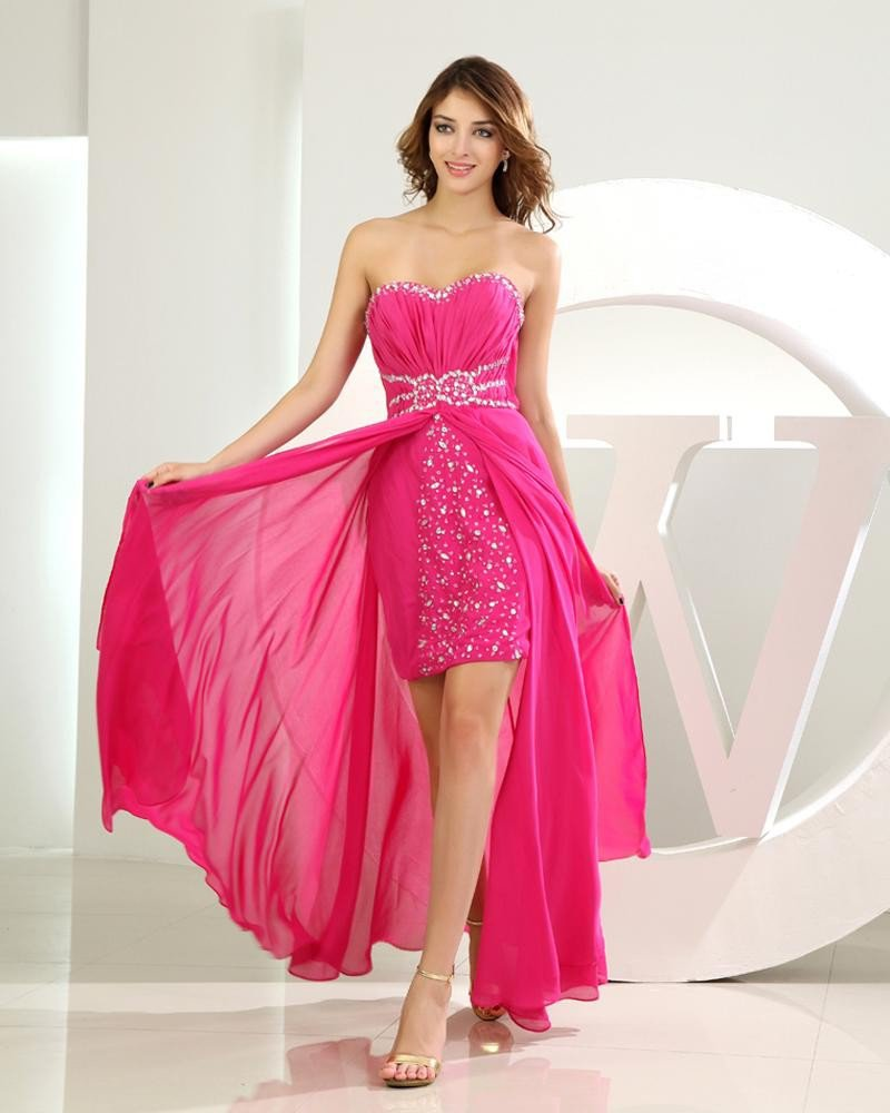 Chiffon Silk Like Satin Silk Beading Sweetheart Sleeveless Zipper Floor Length Pleated Prom Cocktail