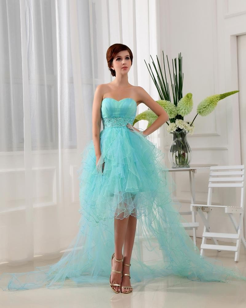 Sweetheart Floor Length Beading Satin Tulle Silk Woman Prom Cocktail Dress