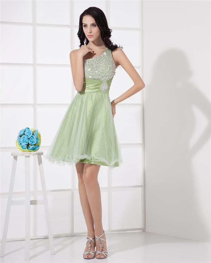 Organza Ruffle Beading Ornament Prom Cocktail Dresses
