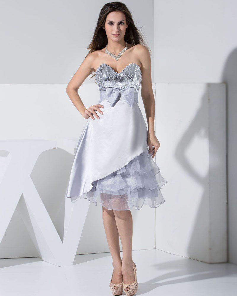 Stylish Organza Charmeuse Lace Silk Sequins Sweetheart Sleeveless Backless Bowknot Knee Length Tiere