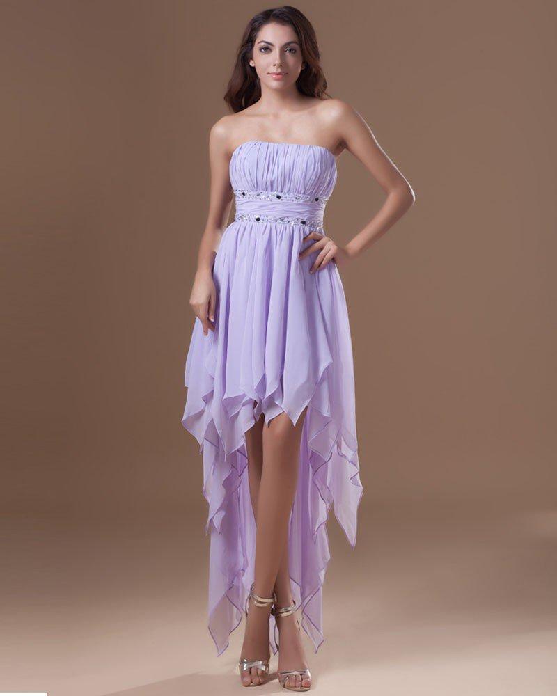 Chiffon Ruffle Beading Strapless Pleated Asymmetrical Length High Low Women Cocktail Dress