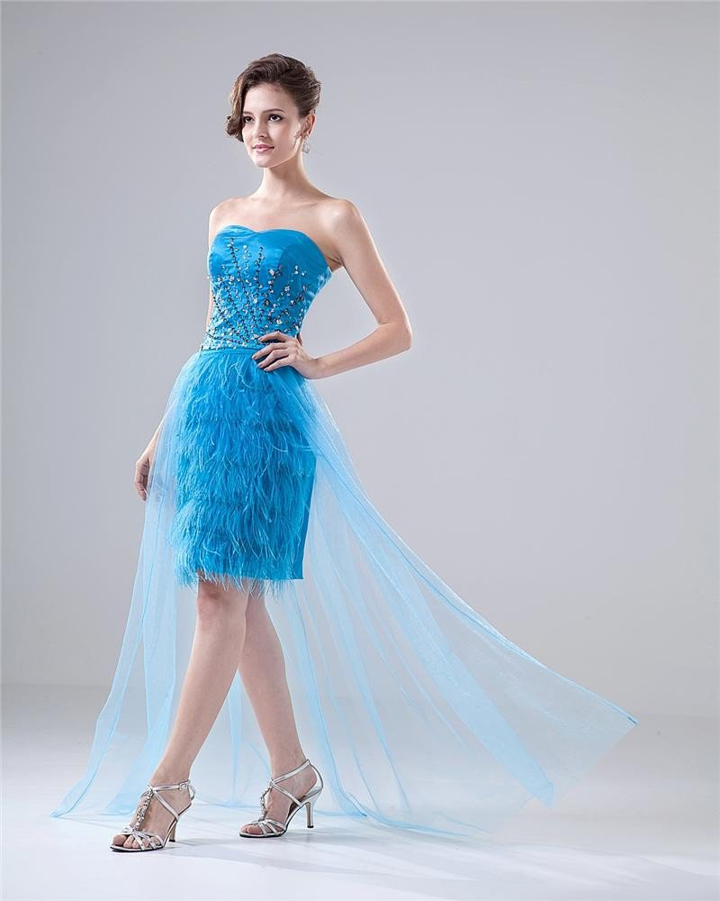 Sweetheart Beading Feather Lace Up Floor Length Cocktail Dress