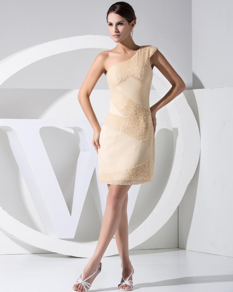 Stylish Chiffon Silk Elastic Silk Like Satin Slopping Beading Zipper Sleeveless Knee Length Cocktail