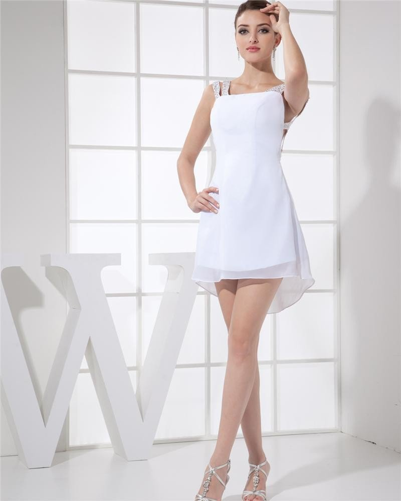 Sabrina Neckline Thigh Length Beading Chiffon A-Line Woman Cocktail Dress