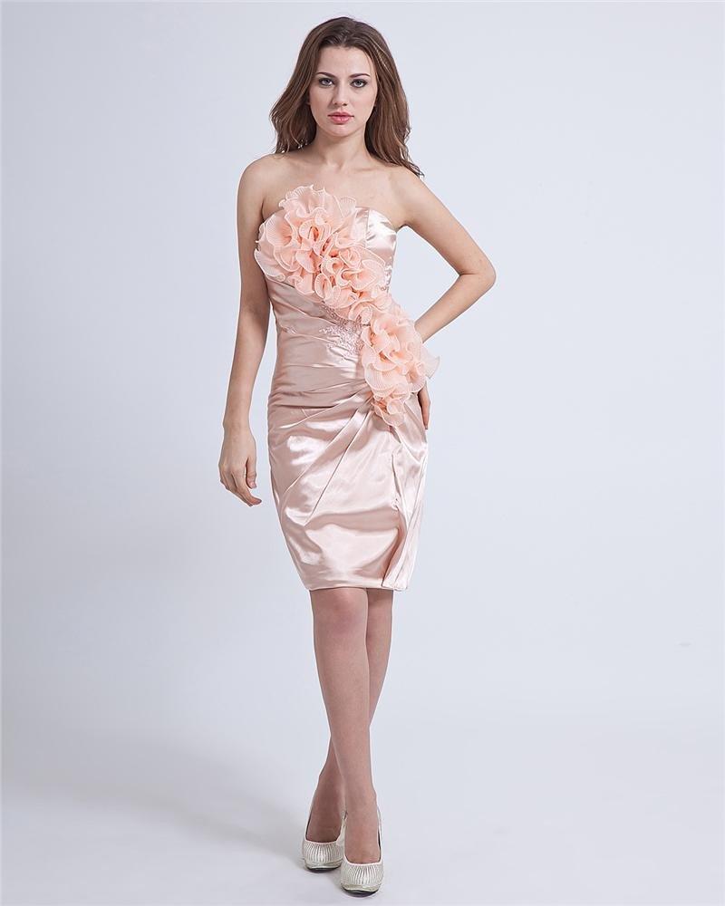 Charmeuse Flower Strapless Knee Length Little Black Cocktail Dresses