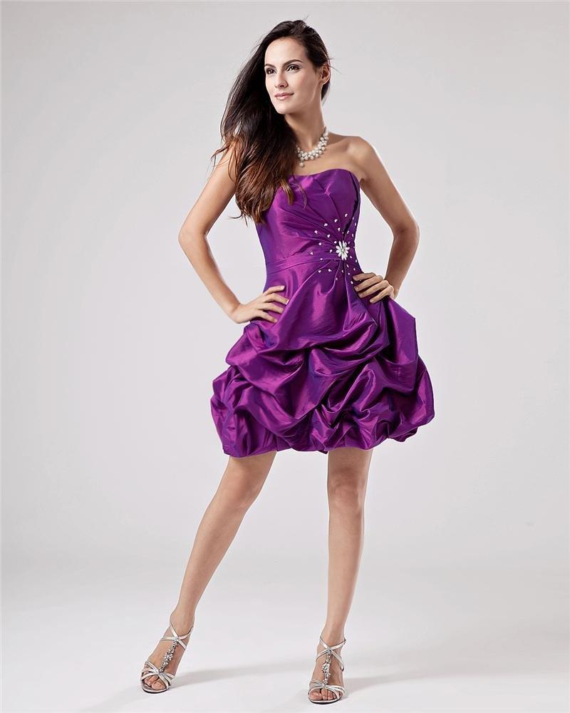 Popular Ruffle Beading Taffeta Sweetheart Thigh Length Cocktail Dresses