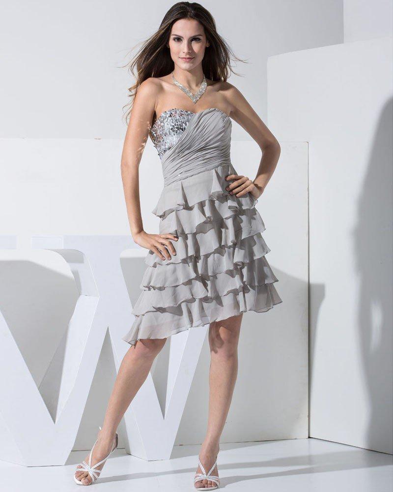 Chiffon Silk Silk Like Satin Sweetheart Beading Pleated Knee Length Tiered Cocktail Dress