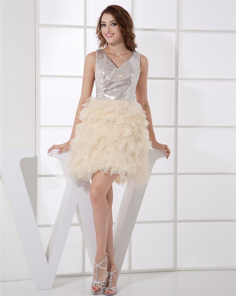 V-Neck Sleeveless Mini Organza Sequin Woman Cocktail Dress