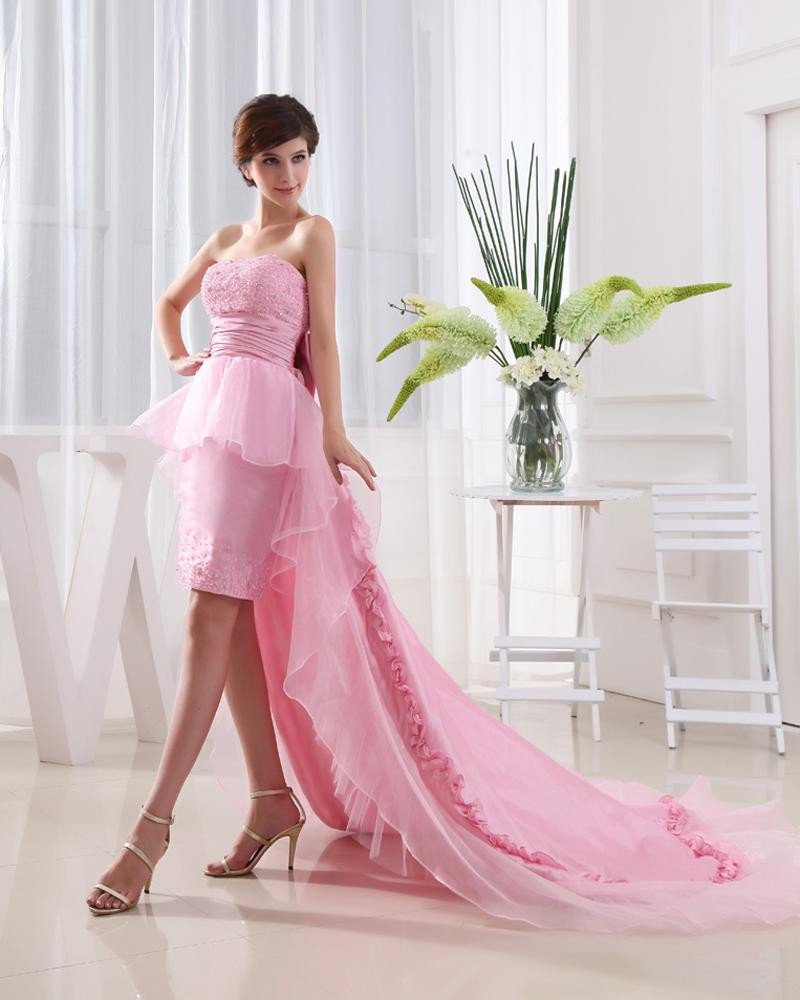 Strapless Flower Bowknot Beading Dip Lace Hem Floor Length Lace Up Sleeveless Organza Taffeta Woman