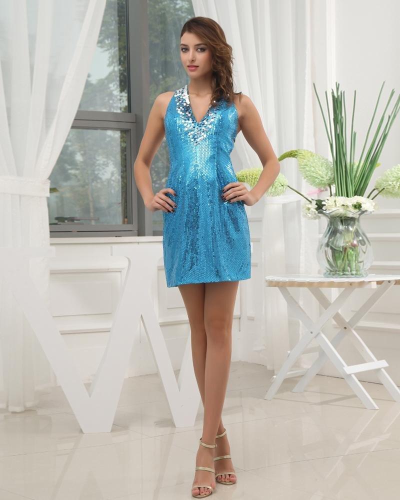 Halter Neckline Short Sleeveless Sequined A-Line Woman Cocktail Dress
