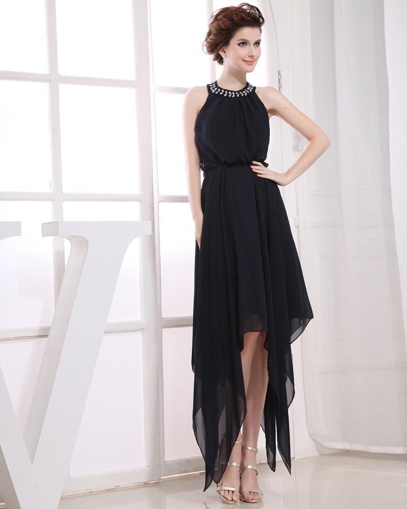 Chiffon Beading Halter Sleeveless Backless Zipper Asymmetrical Pleated Prom Cocktail Dress