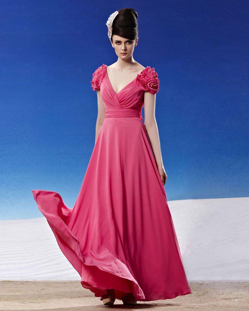 V Neck Flower Wrap Shoulder Ruffle Sleeveless Backless Floor Length Chiffon Woman Evening Dresses