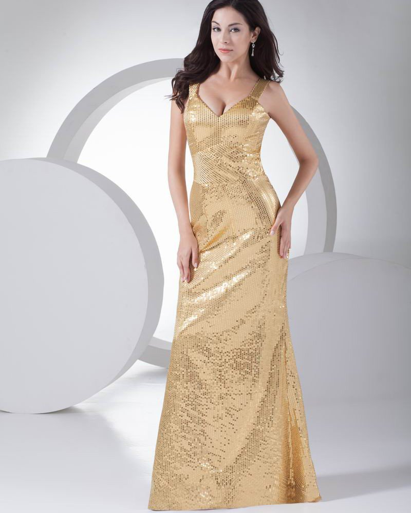 Fashion Sequin Silk like Satin Shoulder Straps Floor Length Evening Dress