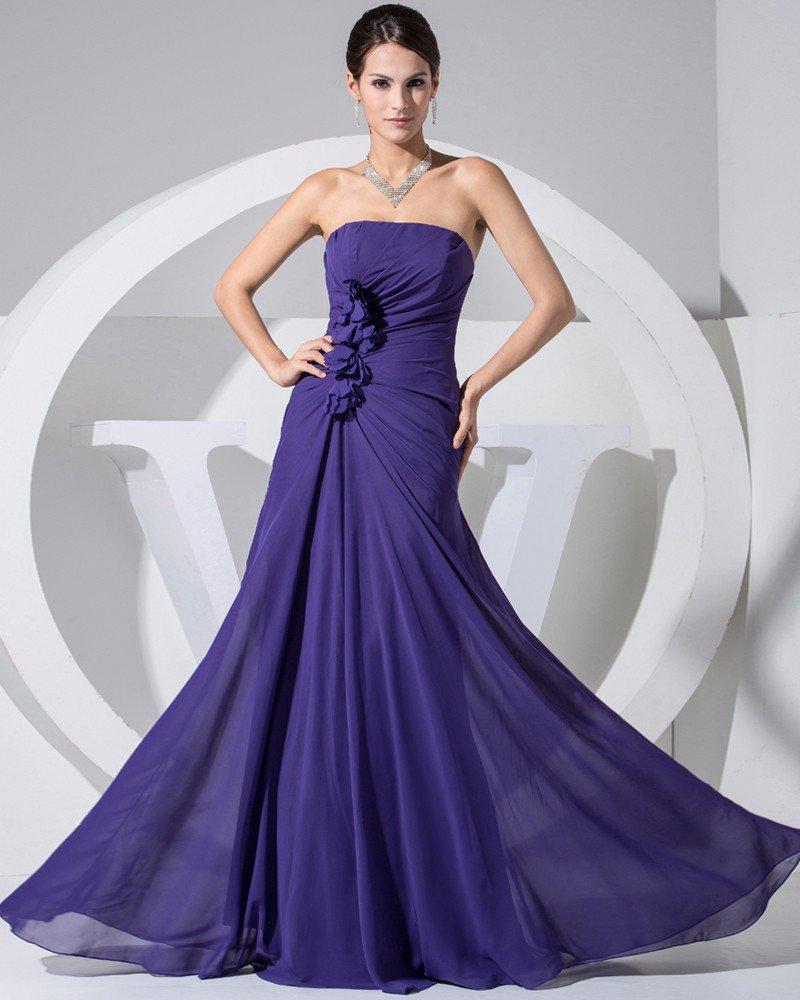 Chiffon Elastic Silk Like Satin Silk Strapless Sleeveless Zipper Ruffle Floor Length Evening Dress