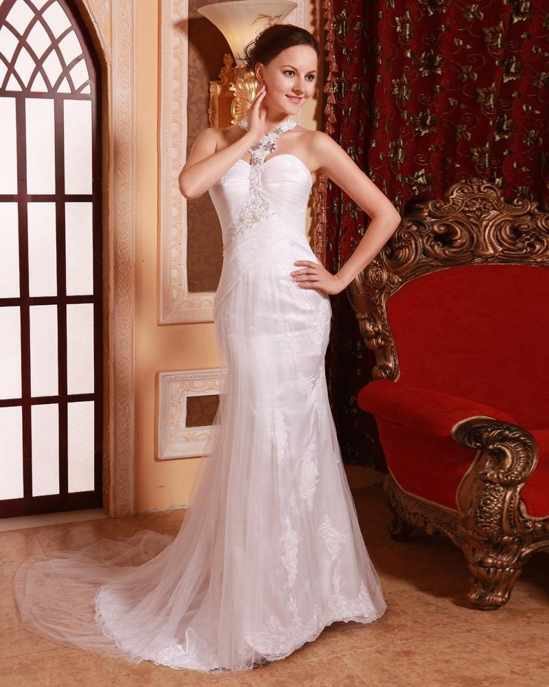 Stylish Ruffle Beading Strapless Floor Length Sweep Satin Gauze Celebrity Dress