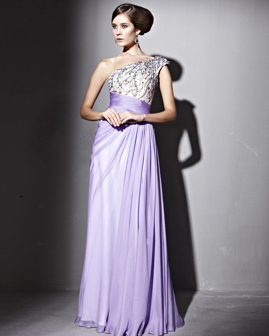 Sloping Shoulder Tencel Satin Tulle Bead Handmade Floor Length Evening Dresses
