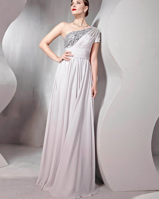 Beaded Tulle Silk Charmeuse One Shoulder Floor Length Evening Dresses