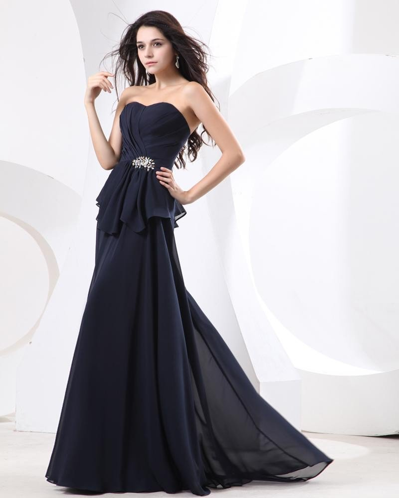 Sweet Ruffle Beading Chiffon Strapless Floor Length Evening Dresses