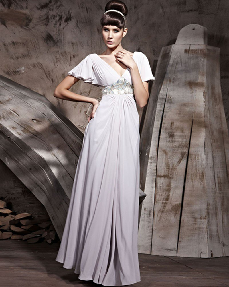 V-Neck Butterfly Sleeve Floor Length Chemical Fiber Chiffon Evening Dresses