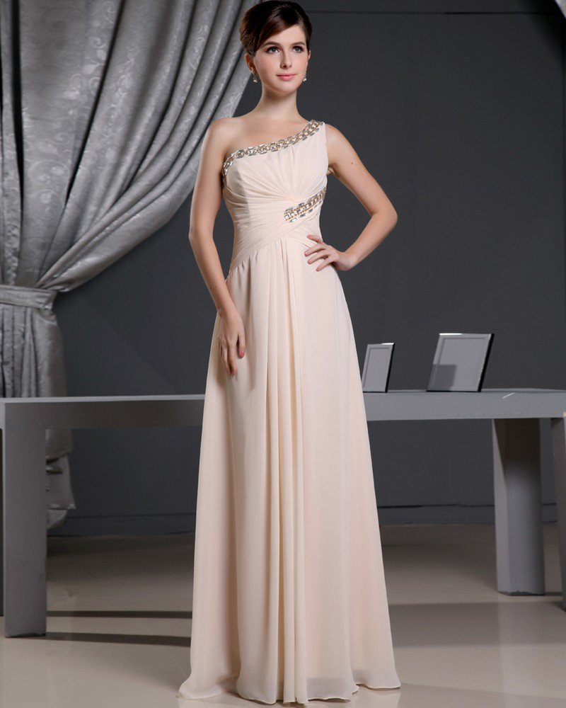 Fashion Chiffon Charmeuse Silk Beaded Pleated One Shoulder Court Train Sleeveless Women Evening Dres