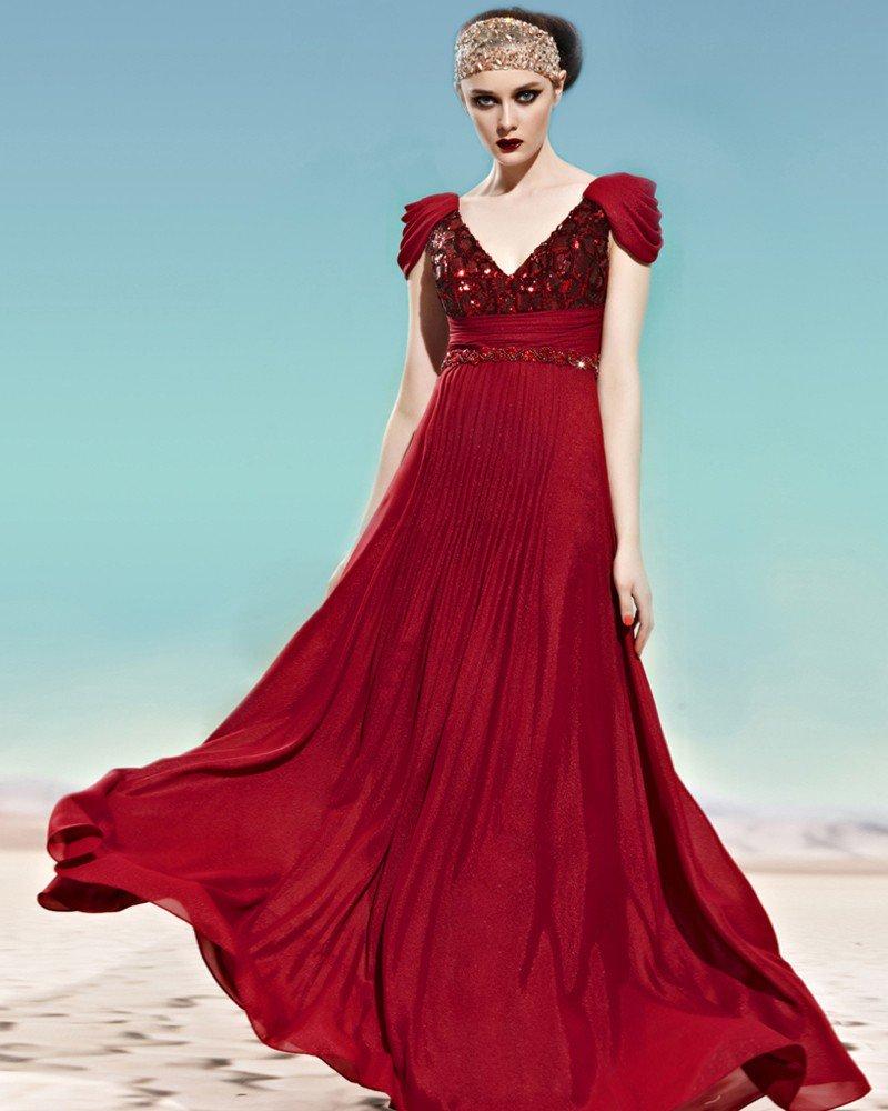 V Neck Sequin Ruffle Cowl Sleeve Zipper Empire Floor Length Chiffon Woman Evening Dress