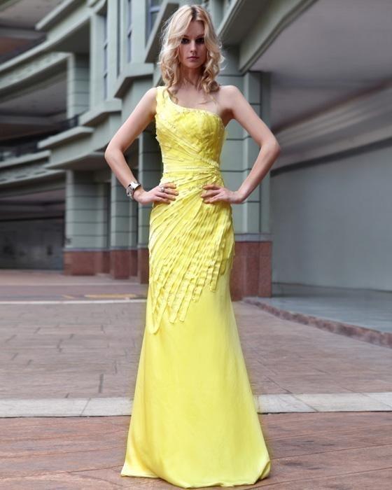 One Shoulder Satin Pleated Floor Length Evening Dresses