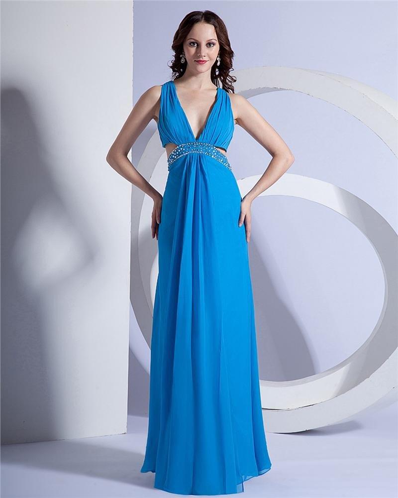Chiffon Beading V Neck Ankle Length Evening Dresses