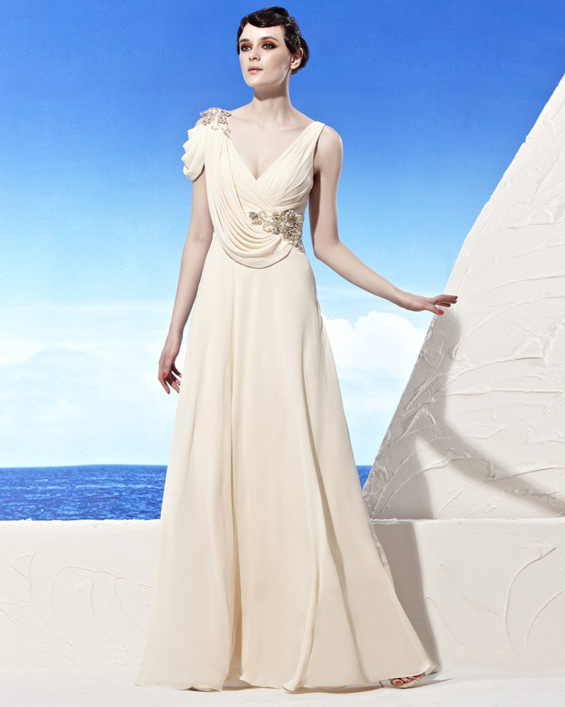 V Neckline Floor Length Petal Sleeve Flower Beading Chiffon Empire Woman Evening Dress
