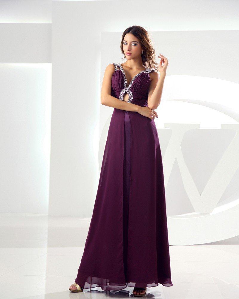Sweetheart Sleeveless Zipper Beading Floor Length Chiffon Silk Woman Evening Dress