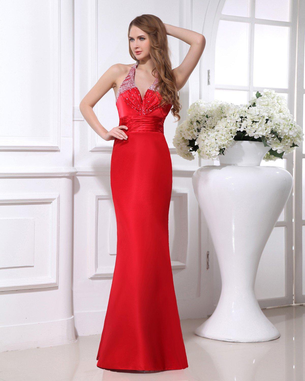 Elegant Satin Beaded Pleated Halter Floor Length Women Evening Dress