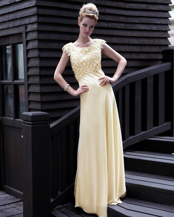 Silk Jewel Rhinestone Floor Length Evening Dresses