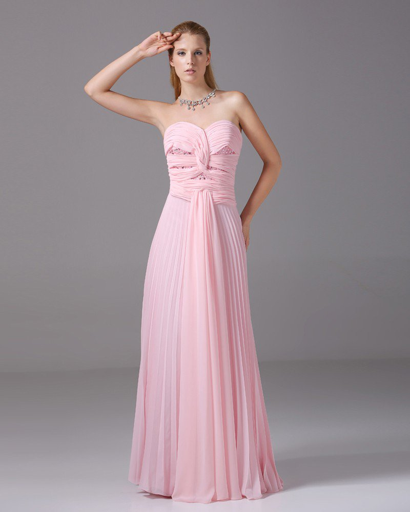 Sweetheart Beading Pleated Floor Length Chiffon Woman Evening Dress