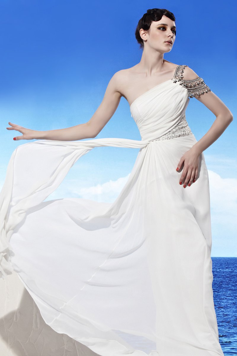 Strapless One Shoulder Beading Sleeveless Backless Floor Length Chiffon Woman Evening Dresses