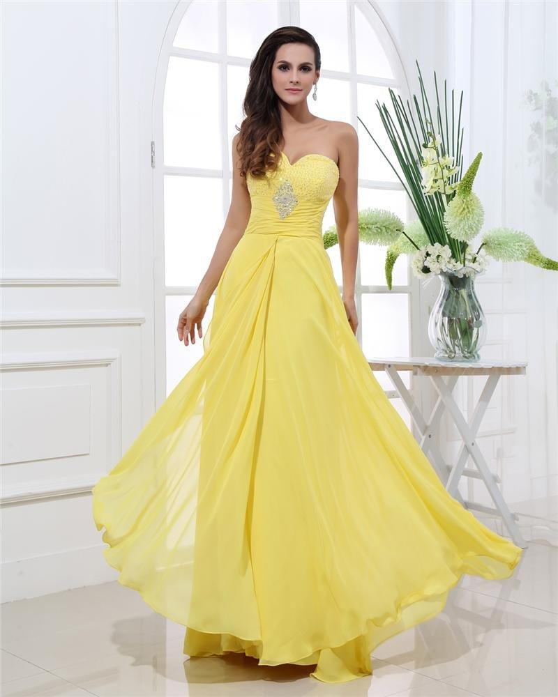 Sweetheart Chiffon Beading Pleated Floor Length Plus Size Evening Dresses