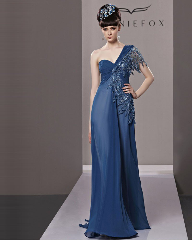 One Shoulder Floor Length Beading Lacework Chiffon Women Evening Dress
