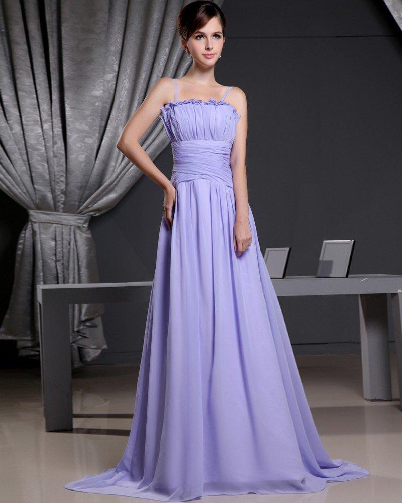 Fashion Chiffon Satin Silk Solid Pleated Spaghetti Straps Court Train Sleeveless Women Evening Dress