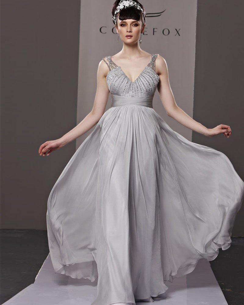 V Neck Beading Baldric Sleeveless Zipper Floor Length Charmeuse Woman Evening Dress