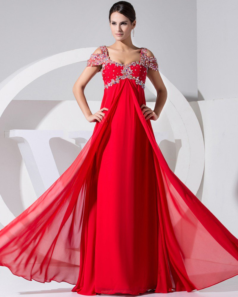 Stylish Solid Elastic Silk Like Satin Chiffon Silk V Neck Beading Sleeveless Backless Floor Length P
