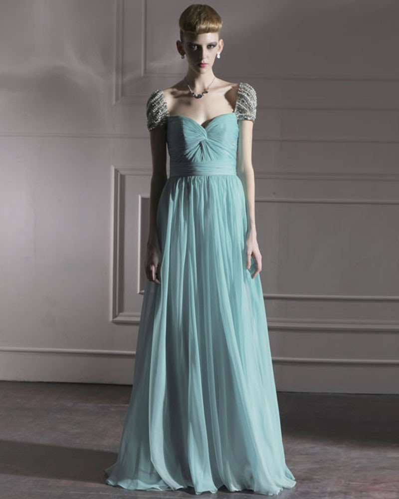 Silk Tulle Charmeuse Portrait Bead Floor Length Evening Dress